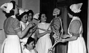 Nurses being taught anatomy, April 1948.