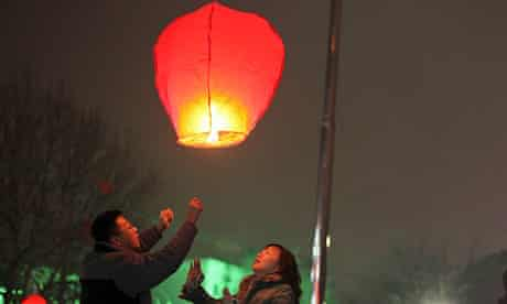 A Chinese lantern being launched