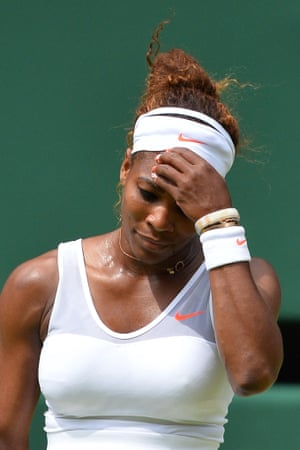 Serena Williams has crashed out of Wimbledon following defeat in the fourth round women's singles match against Germany's Sabine Lisicki.