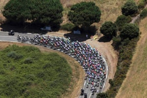 An aerial view shows the pack of riders as they cycle through the countryside during the 145.5 km third stage of the centenary Tour de France from Ajaccio to Calvi in Corsica. Photograph: Pool/Reuters