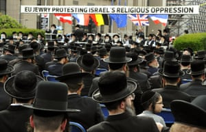 European Rabbinical leaders demonstrate in front of the EU Headquarters in Brussels. They appealed to the EU Commission to provide international protection to those of the Orthodox Jewish community who flee Israel and to ensure that all its member states recognize them as refugee and political asylum seekers. Photograph: Georges Gobet/AFP/Getty Images