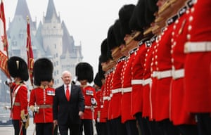 Happy birthday: Canada's governor general David Johnston inspects the honour guard during Canada Day celebrations on Parliament Hill in Ottawa. Canadians are celebrating their country's 146th birthday. Photograph: Chris Wattie/Reuters