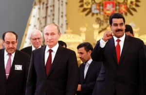 Gas masters: Iraq'a prime minister Nouri al-Maliki (left) Russian president Vladimir Putin (second left front), Iranian president Mahmoud Ahmadinejad (second right) and Venezuelan president Nicolas Maduro (right) are seen during a gathering of the Gas Exporting Countries Forum (GECF) in the Andrew (Throne) Hall in the Grand Kremlin Palace in Moscow,. Photograph: Yuri Kochetkov/POOL/EPA
