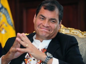 Either way....: Ecuadorean president Rafael Corrrea smiles during an interview at the Carondelet Palace in Quito. Correa, whose government has considered an asylum request from US intelligence whistleblower Edward Snowden, said the fugitive's bid for sanctuary in Russia could resolve the standoff. Photograph: Rodrigo Buendia/AFP/Getty Images