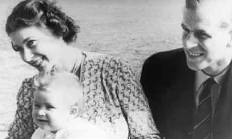 The Queen and the Duke of Edinburgh with Prince Charles as a baby in 1949.