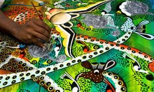 Tinga Tinga artist painting. Image shot 2005. Exact date unknown.