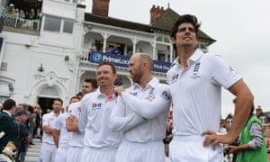 Alastair Cook (R), captain of England waits to walk out with his team prior the 1st Ashes Test match.