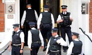 Metropolitan police guard the Ecuadorian embassy