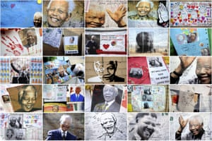 Montage of well-wishers' messages and portraits of former President Nelson Mandela displayed on a wall outside the hospital in Pretoria.