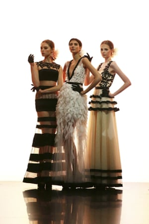 Models showcases designs on the runway during the Gregorius Vici show at Hong Kong Fashion Week.