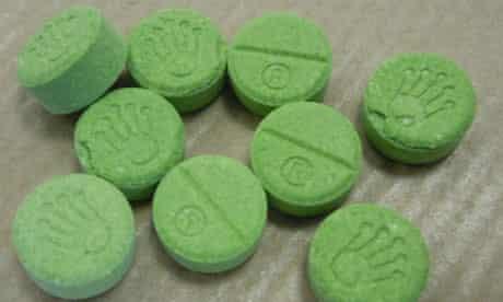 Green fake ecstasy tablets