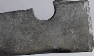 Markings on stone axe, from Zhejiang province, China