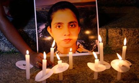 A picture of nurse Jacintha Saldanha during a candle-lit vigil in Bangalore, India
