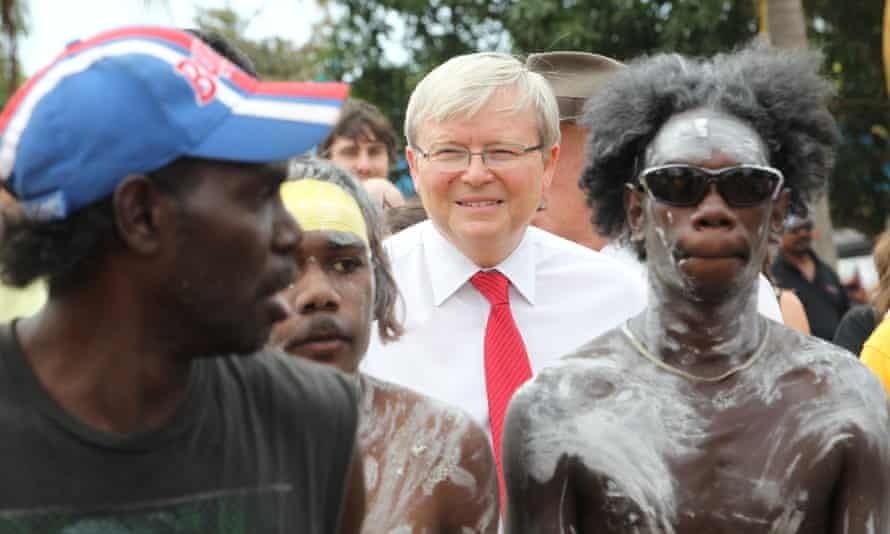 Prime Minister Kevin Rudd with Yirrkala indigenous leaders during the 50th anniversary of the Yirrkala Bark Petitions.