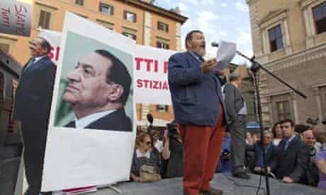 Demonstrators support Silvio Berlusconi in Rome