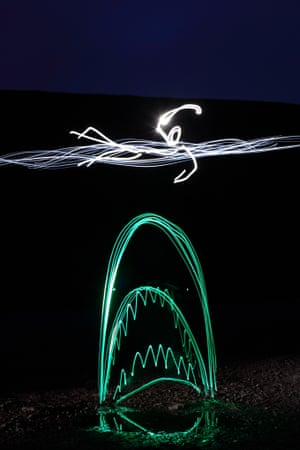 Recreation of the iconic movie Jaws, using an LED light by artist Michael Bosanko in Caerphilly, Wales.