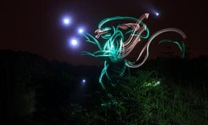 A light art recreation of Alien.