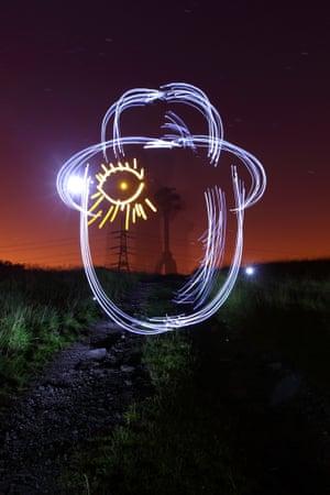 An LED light art recreation of the film A Clockwork Orange.