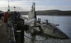 Nuclear-powered HMS Ambush at Faslane naval base