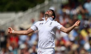 Howzat! England's James Anderson celebrates after taking the wicket of Mitchell Starc of Australia during day two of the Ashes Test match at Trent Bridge in Nottingham. Follow the action live.