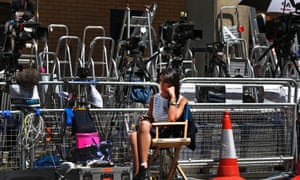 You may mistake it for a sale of stepladders, but this is the scene outside St Mary's Hospital exclusive Lindo Wing in London. Members of the media are preparing for their first glimpse of a new Royal baby as the Duchess of Cambridge is due to give birth this month.