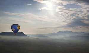 A beautiful bird's-eye view of a hot air balloon taking part in the 17th European Balloon Festival in Igualada city, near Barcelona in Spain. The European Balloon Festival takes place from today until Sunday.