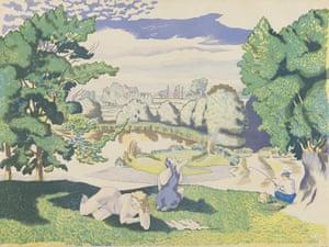 Lyons: John Nash, Landscape with Bathers, c 1946-7