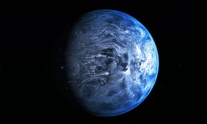 An artist's impression has been revealed today by NASA of the exoplanet HD 189733b. Like Earth, it is deep blue in colour, but its atmosphere is scorching with a temperature of over 1000 degrees Celsius, and it rains glass, sideways, in howling 7000 kilometre-per-hour winds, according to scientists.