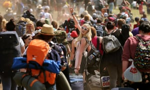 The weekend forecast looks bright for festival goers as they arrive at the campsite in Kinross in Scotland  for the 20th T in the Park music festival.