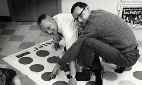 December 1966 photo of Twister co-inventors Charles Foley, left, and Neil Rabens