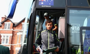Ashton Agar of Australia arrives on the team bus before day three of the Ashes at Trent Bridge. Agar scored 98 runs on his international debut yesterday.