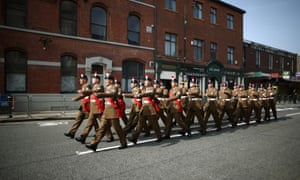 Members of the Royal Regiment of Fusiliers march through the high street for the funeral service of Fusilier Lee Rigby at Bury Parish Church.