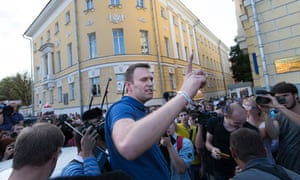 Russian opposition leader Alexei Navalny after submitting registration as Moscow mayoral candidate