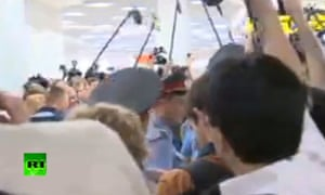 A media scrum after Edward Snowden's meeting at Moscow's Sheremetyevo airport on 12 July 2013.