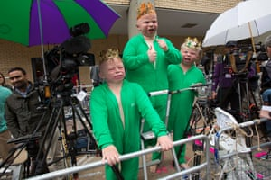 The Paddy Power giant babies visit the Lindo Wing of St Mary's Hospital on 12 July  2013 in London, England. The bets are pouring in over the hair colour of the royal baby. Brown remains the favourite, and ginger has been heavily backed at 4/1