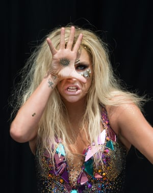 Ke$ha performs on the main stage at the Yahoo Wireless Festival at Queen Elizabeth Olympic Park in London, England.