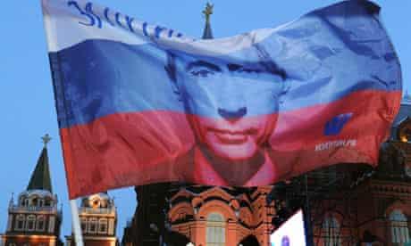 Russian flag with Vladimir Putin's face