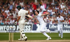 James Anderson celebrates after taking the wicket of Ashton Agar.