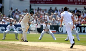 Mitchell Starc edges behind to slip Alastair Cook off bowler James Anderson.