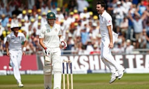 James Anderson celebrates taking the wicket of Peter Siddle.