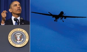 Obama and drone composite