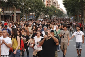 Hundreds of people demonstrated in Barcelona against political corruption and demanded the resignation of Prime Minister Mariano Rajoy, on 14 July 2013.