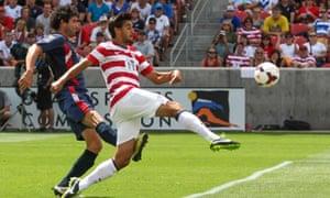 USA's Chris Wondolowski scores vs Cuba