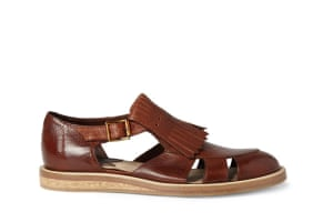 Top 10 mens sandals: Mens sandals: brown fringed brogue sandals by Paul Smith