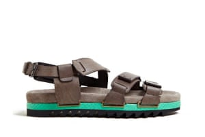 Top 10 mens sandals: Mens sandals: Taupe straps with padded turquoise and black sole by Lanvin