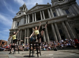 Dancers perform on the steps of St. Paul's Cathedral  in London, England. The Central School of Ballet has specially commissioned the modern dance performance 'Tilt' as part of the City of London Festival.