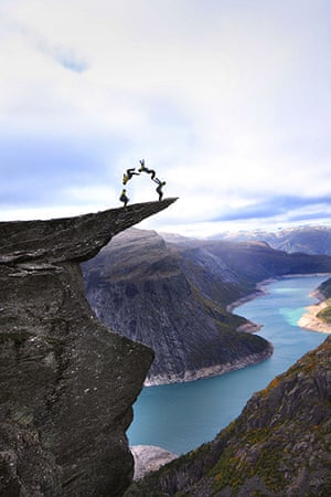 Trolls tongue stunt: The ledge is only accessible after negotiating a network of steep hiking tr