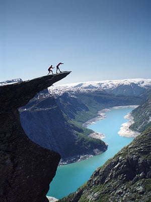 Trolls tongue stunt: The views from the top of the famous Norwegian landmark are stunning but no