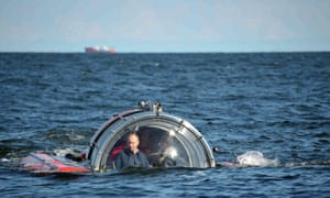 Russian President Vladimir Putin submerges on board the Sea Explorer 5 bathyscaphe near the isle of Gogland in the Gulf of Finland, Russia, while visiting Oleg frigate which sank in 1869 .