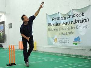 Charity chillaxing: Prime Minister, David Cameron bowls to Alby Shale (not in picture) who is attempting to break the Guinness World Record for a cricket net session in aid of Rwanda Cricket Stadium Foundation. Photograph: Nigel French/PA
